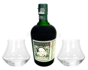Botucal Reserva Exclusiva Rum mit 2 Botucal Tumbler Gläser 0,70l (40% Vol) Ron de Venezuela Glas Longdrinkglas - Set - [Enthält Sulfite]