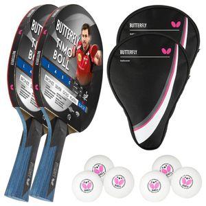 Butterfly 2 x Timo Boll Black 85031 Tischtennisschläger + 2x Tischtennishülle Drive Case + 6 x 40+ 3*** Bälle
