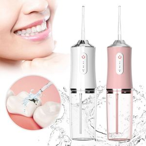 Munddusche Elektrisch Kabellos, Professional Wasser Flosser Oral Irrigator IPX7 Wasserdicht, Zahnreiniger mit 220 ML Wassertank und 4 Düsen, Rosa