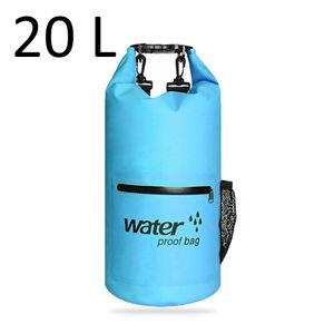 Drybag 20L in Türkis, wasserdichter Seesack, Rollbeutel mit zusätzlicher Netztasche, Reissverschlusstasche und 2 Tragegurten zur Verwendung als Rucksack