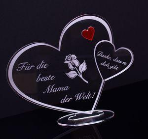 """Acryl Schild in Herz Form """"Für die beste Mama der Welt"""" Perfekt zu Muttertag oder Weihnachten, mit Lasergravur, Geschenk, 205 mm x 170 mm"""