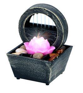 Arti Casa Zimmerbrunnen Lotusblume - Indoor-Wasserspiel mit LED-Licht - Positiver Effekt - Tischbrunnen mit Kieselsteinen - 11,5 x 17 cm