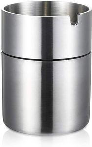 Edelstahl Metall Aschenbecher für draußen gegen Wind für Auto für Garten Office Home Small, Silber