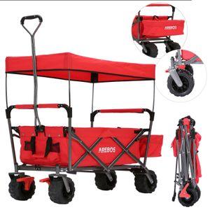 AREBOS Bollerwagen Faltbar mit Dach Standard Handwagen Klappbar Gerätewagen Rot