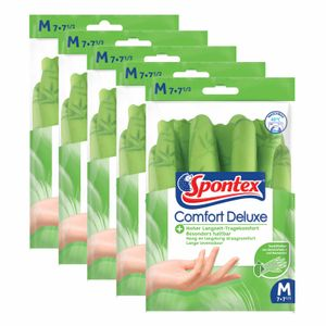 Spontex Haushaltshandschuhe Comfort Deluxe 5 Paar, Handschuh, NaturkautscHn8tex, Spülhandschuh, griffsicher Größe:9