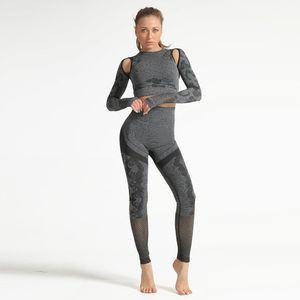 2PCS Frauen Yoga Crop Shirt Leggings Camouflage Print Daumenloch Aush?hlen Atmungsaktive Nahtlose Bodycon Fitness Sportswear