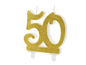 Geburtstagskerzen 50 Jahre 7.5cm, gold / glitzer