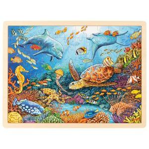 goki 57432 Einlegepuzzle Great Barrier Reef 40 x 30 x 0,8 cm, Holz, 96 Teile, bunt
