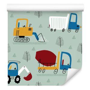 10m VLIES TAPETE Rolle Kinderzimmer Lastkraftwagen Bagger Bäume Wald XXL
