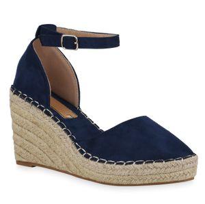 Mytrendshoe Damen Sandaletten Keilsandaletten Bast Plateau Keilabsatz Schuhe 834731, Farbe: Dunkelblau, Größe: 38