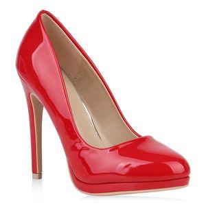 Mytrendshoe Damen High Heels Pumps Schuhe Partyschuhe Stilettos 820055, Farbe: Rot, Größe: 37