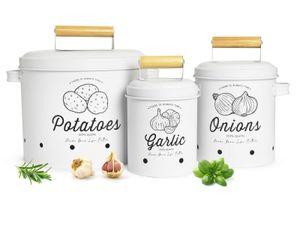 3 Vorratsbehälter Kartoffeltopf Knoblauchtopf Zwiebeltopf Vorratsdosen weiß matt