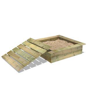 WICKEY King Kong 120 x 120 cm Sandkasten mit Deckel Sandkiste mit Sitzbank Garten Kinder