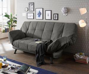 Sofa Inaki Strukturgewebe Steingrau 208 x 108 cm mit Schlaffunktion u. Bettkasten
