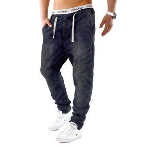 Urban Surface Herren Jogging Denim Haremshose Baggy Pants, Farben:Dunkelblau-2, Größe Jeans:31W