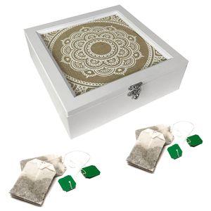 Teebox Holz Weiß Shabby mit 9 Fächern
