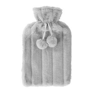 Nicola Spring Wärmflasche Faux-Pelz-Cover - Cozy Plüsch Sleeve - für Standard 2L Flaschen - COVER ONLY - Grau
