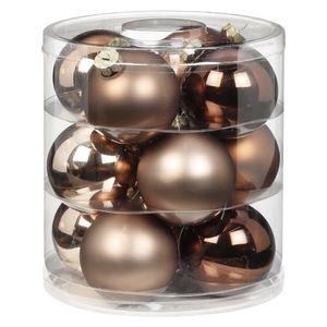 Weihnachtskugeln Glas 8cm, 12 Stück, Farbe:Elegant Lounge ( schokolade braun )