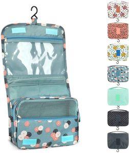 Kulturtasche zum Aufhängen Faltbarer Reise Kulturbeutel mit Tragegriff, Waschtasche, Waschbeutel für Frauen Mädchen Damen 7 Liter (Blaue Blumen)