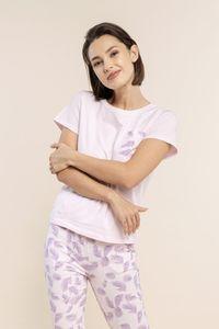 Schlafshirt - T-Shirt mit kurzen Ärmeln mit Tasche und lila Palmen - Größe: L - Bonamera