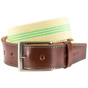 STRETCH StoffGürtel TextilGürtel BandGürtel mit Lederendstück / Gürtel Herren Pierre Cardin, 70143 beige-grün, Größe / Size:100, Farbe / Color:beige