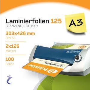 100 Stück DIN A3 Laminierfolientaschen 426 x 303mm, 2x 125 mic, Hochglanz Printation Premium Laminierfolien