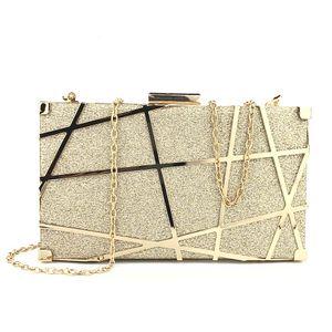 """7,5 """"Frauen Abendtasche Clutch Geldbörsen Exquisite Metall Hollow Out Handtaschen, Gold"""