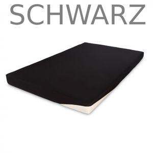 Spannbettlaken Topper Boxspring 140-160 x 200 Baumwolle Jersey Spannlaken Farbe:Schwarz