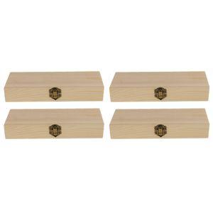 4 Stück Holzschatulle Holzkästchen Holzkiste Schmuck Holzbox