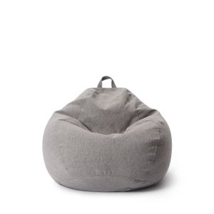 Lumaland Comfort Line Sitzsack M - 70x80x50 cm Bodenkissen, Bean Bag Chair - 120 L - EPS Perlen Füllung - Hellgrau