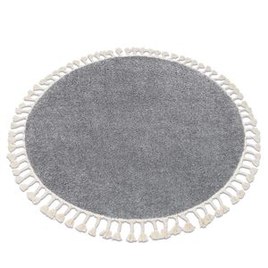 Teppich BERBER 9000 Kreis grau Franse berber marokkanisch shaggy Grau rund 160 cm