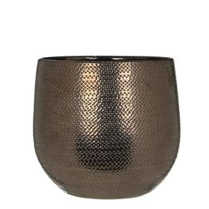 Blumentopf Gabriel rund Keramik bronzefarben  braun handgemacht - H  25 x Ø 29 cm - Übertopf - Pflanzkübel