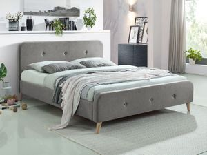 Mirjan24 Polsterbett Loham 160x200, Schlafzimmer, Doppelbett mit Lattenrost, Stilvoll Bett (Farbe: Grey Exp Heather)