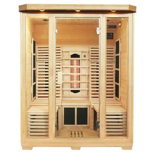 Artsauna Infrarotkabine Helsinki 150 – Triplex-Heizsystem Infrarotsauna - 3 Personen – LED-Farblicht, digitale Steuerung – Hemlock-Holz