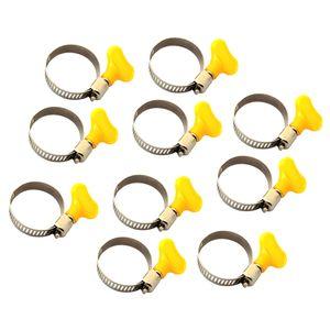 10PCS Stahl amerikanische Schlauchklemme Kunststoffgriff Schlauchschnalle Gasrohrklemme 22-32mm Silber + Gelb
