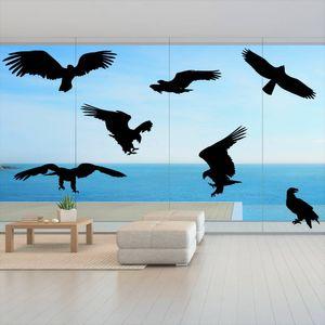 Fenster Aufkleber Fensterbild Vögel Warnvögel Adler 25 cm Farbe schwarz
