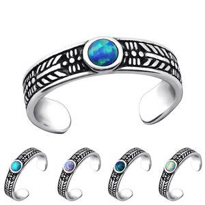 Zehenring Silber 925: Bali Zehring mit Opal, Farbe:Azure