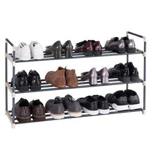 SONGMICS Schuhregal mit 3 Ebenen   für bis zu 15 Paar Schuhe   92 x 30 x 54 cm   Schuhaufbewahrung aus Metall   Schuhorganizer grau LSA13G