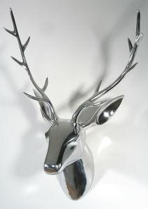 Deko Geweih Hirschkopf 'silber' (Größe: M) - Wandfigur, Wanddeko, Hirschgeweih, Hirschkopf, Geweih und Skulptur Hirsch Weihnachten