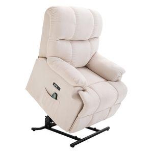 HOMCOM Massagesessel Aufstehhilfe Relaxsessel mit Wärmefunktion verstellbarer Winkel USB Fernbedienung Kurzplüsch Cremeweiß 83 x 95 x 105 cm