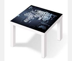 Möbelaufkleber für Ikea Lack Tisch 55x55cm Weltkarte modern Karte Globus Erde Text Schift  Aufkleber Klebefolie Möbelfolie Folie (Ohne Möbel ) 25W2886