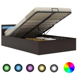 Stauraumbett Hydraulisch mit LED Grau Kunstleder 140×200 cm