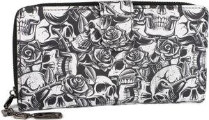 styleBREAKER Damen Geldbörse mit Allover Totenkopf Rosen Print, Reißverschluss und Druckknopf, Portemonnaie 02040151, Farbe:Schwarz-Weiß