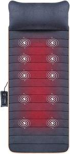 Snailax Massagematte Wärmefunktion Massageauflage 10 Vibrationsmotoren 4 Heizkissen