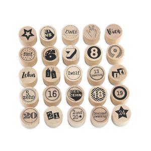 Stempel - Adventskalenderzahlen 1-24 plus Stern aus Holz, Schrift- Motivgröße Ø 2,5 cm Weihnachten, Motivstempel, Ministempel, Dekostempel, Advent