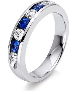 Edelstein-Ring Diamanten 0.4 ct. Saphir 0.44 ct. Grösse 54