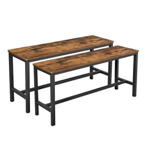 VASAGLE 2er Set Esstischbänke stabiles Eisengestell 108 x 50 x 32,5 cm für Esszimmertisch Küchenbänke Industrie-Design Vintage dunkelbraun KTB33X