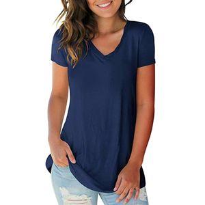 New Fashion Damen T-Shirt Einfarbig V-Ausschnitt Kurzarm Abgerundeter Saum Lange Freizeitkleidung Sommeroberteile ¡ŸKoenigsblau-5XL¡¿