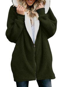 Damen Reißverschluss Fleecejacke lässig weiß warm Jacke,Farbe: Armeegrün,Größe:5XL