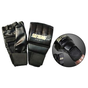 Gym MMA Muay Thai Trainings Boxsack Halb Mitts Sparring Boxen Handschuhe, für Frauen & Männer M. Wettkampfhandschuhe für Erwachsene Schwarz 1